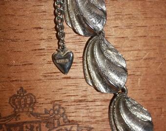 Vintage Mosell Silver Choker Necklace Leaf Design
