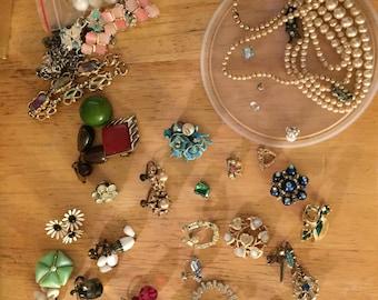 Bag of Random Vintage Costume jewelry