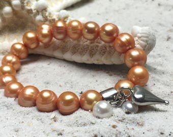 Peach fresh-water pearl Bracelet with sterling silver hart shaped pendant