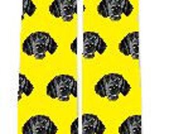 Yellow Background Custom Dog Socks, Dog Face Socks, Design your own Dog Socks, Pup Socks