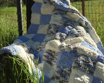 Hand Knit Adult Lap Throw, Warm and Cozy Reading Your Favorite Book!