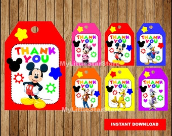 Mickey Mouse Thank you tags, Printable Mickey Mouse tags, Mickey Mouse party tags Instant download