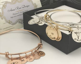 Custom Bangle Bracelet, Charm Bracelet, Custom Name Bracelet, Gift for Her, Graduation Gift, Birthday Gift, Silver, Gold, Rose Gold Bracelet