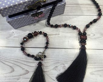 Set: bracelet + necklace gifs|for|her Jewelry Set Black jewelry Svarovski jewelry gift|for|women Handmade Birthday present