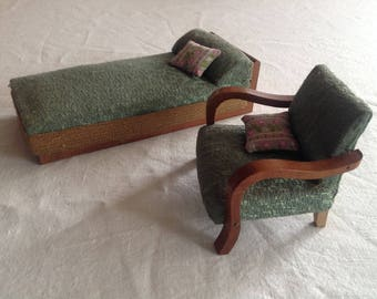 Antique Doll House furniture, armchair and Lounger/Recamiere in scale 1:10