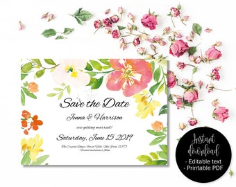 Wedding Save the Date Template, Printable Wedding Save the Date, Editable Save Date PDF, DIY Save Date, Watercolor Flowers Border 8 SAVE-8