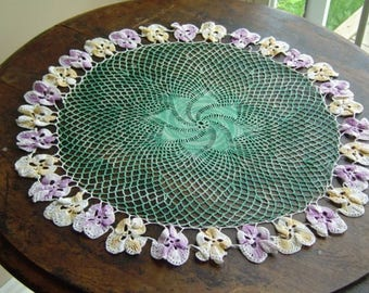 Vintage Crocheted Pansy Doily Floral Edged Handmade Centerpiece Doily Mid Century Pansy Crochet Edge Retro Shabby Chic Extra Large Doily