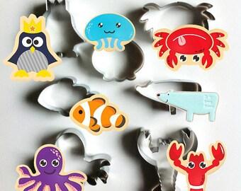 Penguin Cookie Cutter, Jellyfish Cutter, Crab Cutter, Clownfish Cutter, Polar Bear Cutter, Octopus Cutter, Lobster Cutter, Fondant Mold