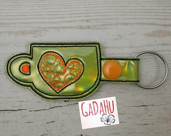 Mug with heart Key Fob Snap Tab Embroidery Design 4X4 size. Instant Digital Download.