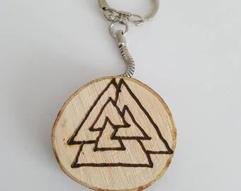 valknut, viking keyring, keychain, norse symbol, handmade gift, pyrography, tree slice,