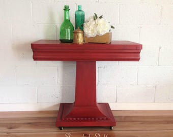 Painted Pedestal Game Table or Entryway Table