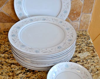 English Garden 1221 Fine China Japan Set of !5 Dinner Plates Bowls