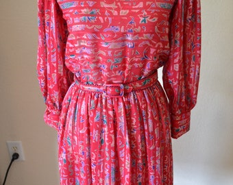 Vintage Tanner Dress Pink Red Aqua Floral Belted 4 6 Small 70s