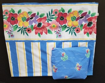 Vintage Lady Pepperell Twin Vibrant Flat Fitted Sheet Set Blue White Floral