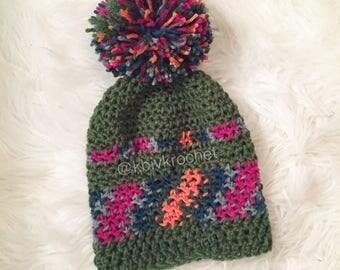 Olive Remix Jumbo Puffball Crochet Beanie