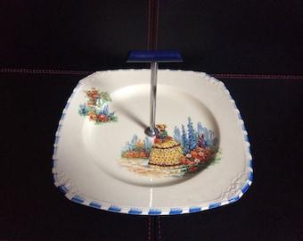 Beautiful Coronet Ware, crinoline lady cake plate