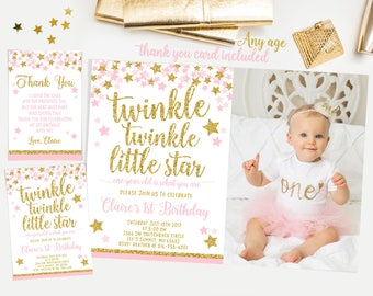 Twinkle twinkle little star first birthday invitation, Pink and gold first birthday invitation, girl first birthday invitation ,  No. 005