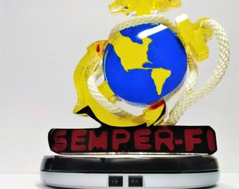 Semper-Fi Logo with Rope Wrapped Around The World