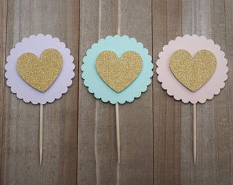 Cupcake topper Heart-Circle Cupcake Toppers-gold-rose gold-pink-purple-blue-lavender-aqua blue wedding cupcakes-birthday cupcakes