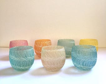 Set of 17 Color Craft Shat-R-Pruf Spaghetti String Glasses | Spaghetti String Glassware | Vintage Barware