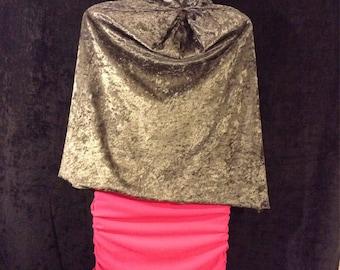 Cape - 'Crushed Velvet' - Grey (pink straps)