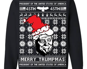 Merry Trumpmas,Donald Trump, US president Ugly Christmas Sweatshirt, 45th President Christmas Sweater Crewneck Sweater