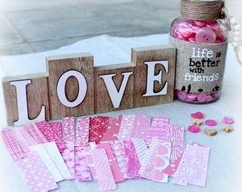 40 Pink Strips of Fabric Washi, Valentine's Day, Planner, Snail Mail