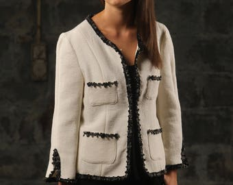 0216 Cream Cardigan Jacket-Linton tweed
