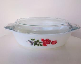 Pyrex JAJ June Rose 2.5 Pint Oval Casserole Dish circa 1960