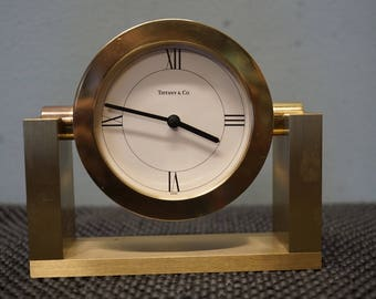 Vintage Tiffany & Co Art Deco Style Solid Brass Mantel Desk Clock