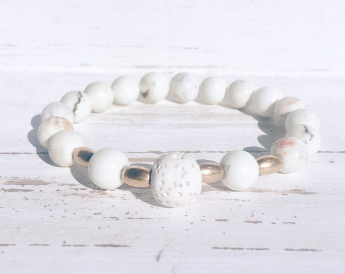 White Lava Rock, Howlite and Gold Beaded Diffuser Bracelet for Essential Oils