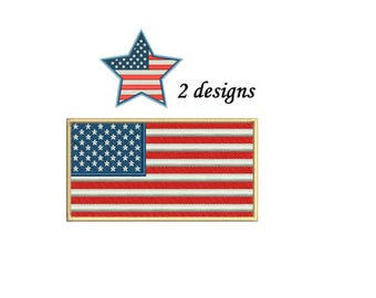 American Flag Embroidery Design - 2 designs instant download