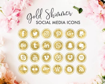 Social Media Icons | Glam Watercolor Gold Foil Glitter Design| for photography, fashion, blog, website design | png files