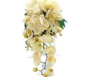 Brides Teardrop Cascading Shower Wedding Bouquet in Silk, Wedding Bouquet, brides cream silk bouquet, bridal bouquet. Free Delivery