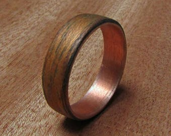 wooden wedding bands copper and wood ring anniversary gift ideas rustic copper ring - Wooden Wedding Rings For Men
