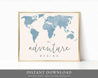 Instant Download | Watercolor Adventure Begins | DIY Printable Digital File | Wall Art, World Map, Traveler Sign, Welcome Sign | DC029