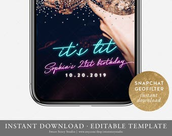 Instant Download | It's Lit Neon Birthday Party Snapchat Geo Filter | Editable Geofilter | Silver Glitter, 20th, 30th, Sweet 16, 21st