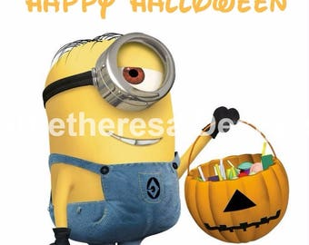 Minion Happy Halloween Iron On Transfer