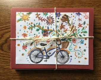 Set of 10 Bicycle Greeting Cards with Envelopes