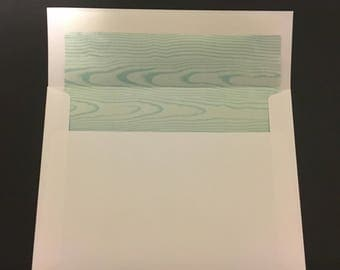 """Lined envelopes white with Tiffany blue/teal and white woodgrain A7 envelopes ( 5 1/4"""" x 7 1/4"""" - 13.3 x 18.2cm) invitation size"""