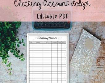 Checking Account Ledger Printable and Editable - Monthly Tracker, Family Budget, Finance, Organize, Instant Download, Budget