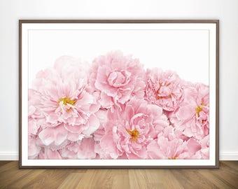 Blush Pink Peony Print * Peony Poster Peony Flower Print Bedroom Poster Flowers Poster Pink and White Print Blush Pink Decor Peony Wall Art