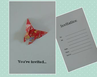Personalised origami invites/save the dates for parties. Suitable for kid's parties, weddings etc and more! Comes in packs of 10.