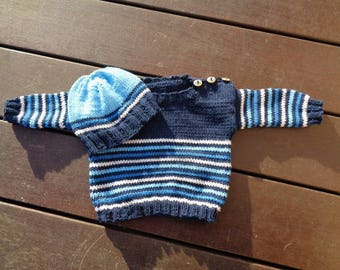 sweater 3 month boys bonnet cotton and acrylic