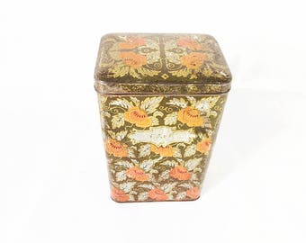 Antique Tin / Art Nouveau / 1900 / floral pattern