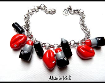 Bracelet charms mouths and red lipstick