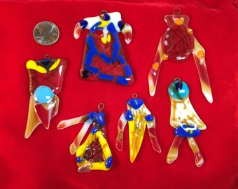 6 Piece Surreal Native Design Fused Glass Ornaments 2