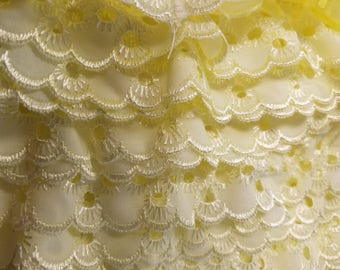 Eyelet ruffled in yellow  for baby couture, bedding, blankets, decor 36 yards