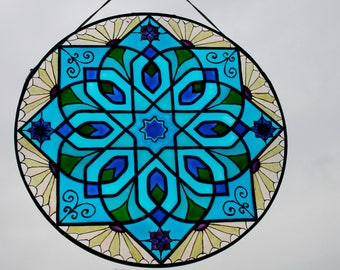 Moroccan Blue Star Mosaic - Stained Glass Suncatcher Panel (Rub el Hizb) - Large 12 Inch