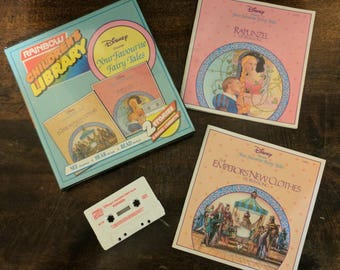"""Disney's The Emperors new clothes and Rapunzel - Rainbow Children's Library read along """"Your Favourite Fairy Tales"""" Cassette Tape and Books"""